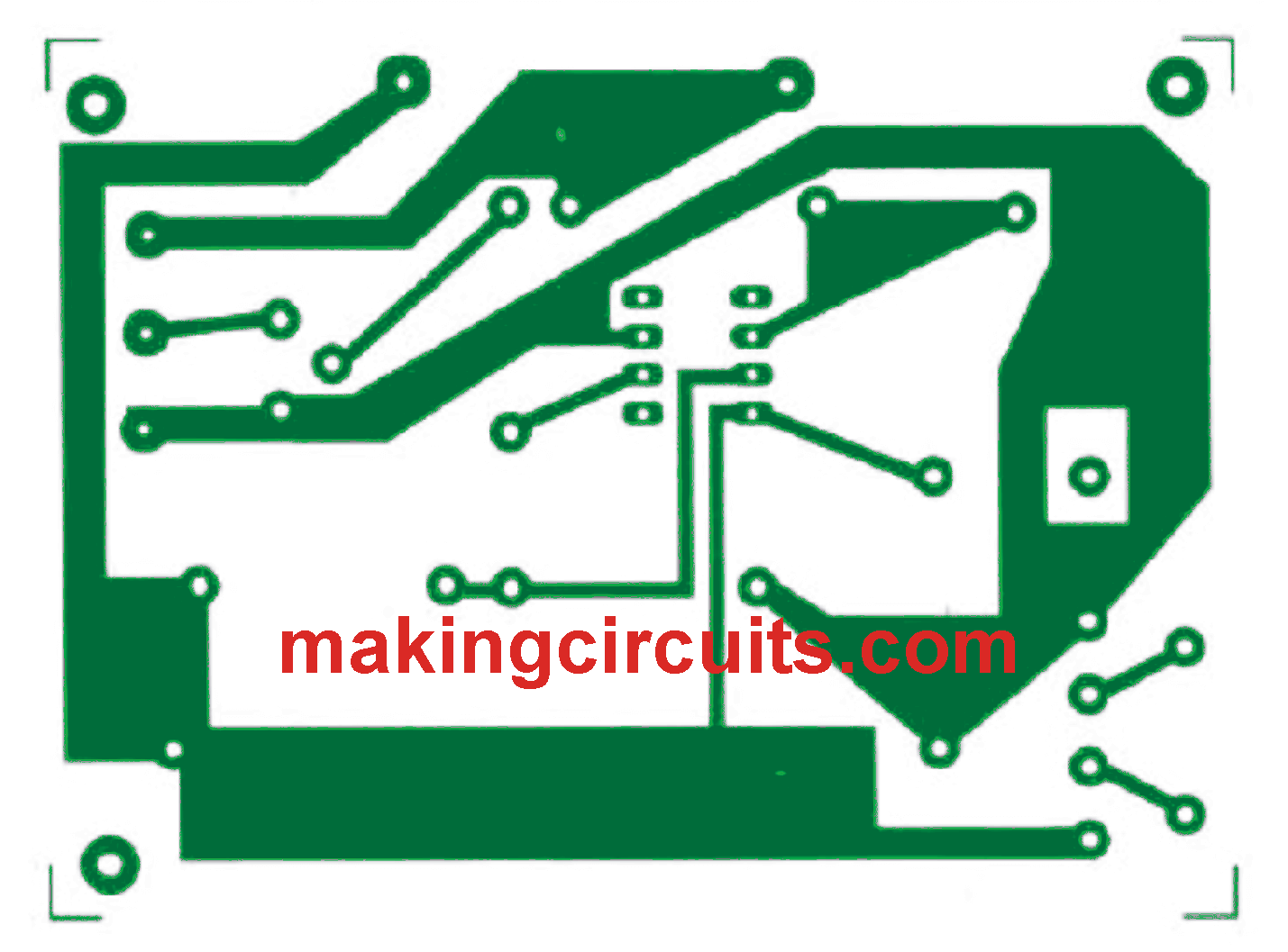 automatic 12v battery charger circuit pcb layout track side [ 1429 x 1057 Pixel ]