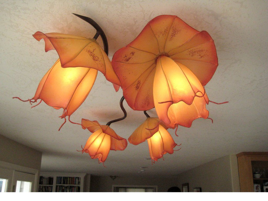 Hibiscus handmade paper chandelier by hiih lights hiihlights commercial and residential custom handmade paper lights arubaitofo Gallery