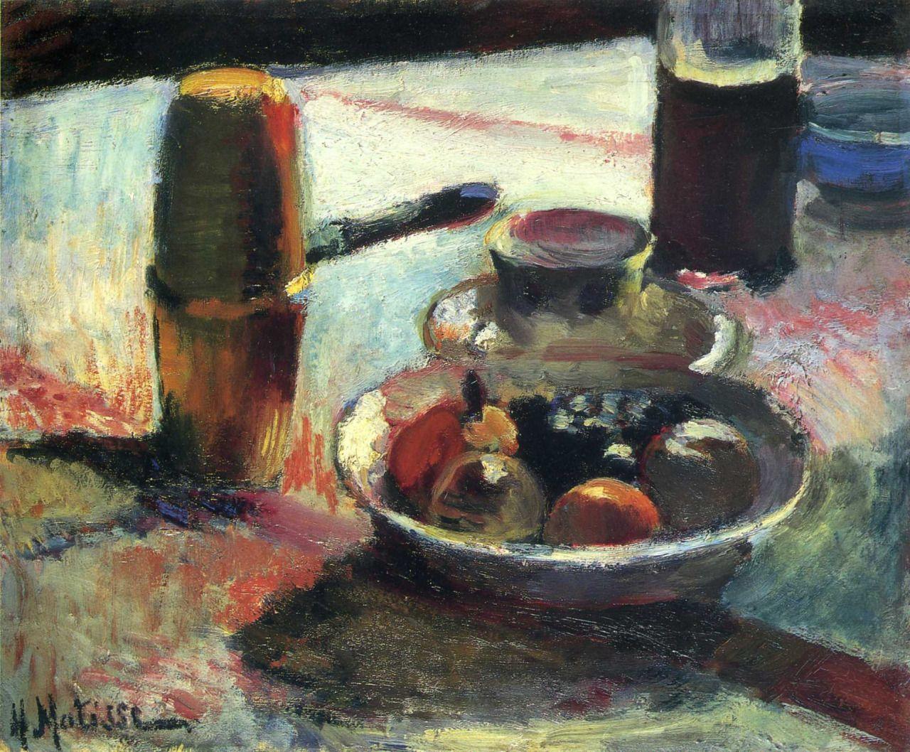 "artist-matisse: "" Fruit and Coffee-Pot by Henri Matisse Size: 46.5x38.5 cm Medium: oil on canvas"""