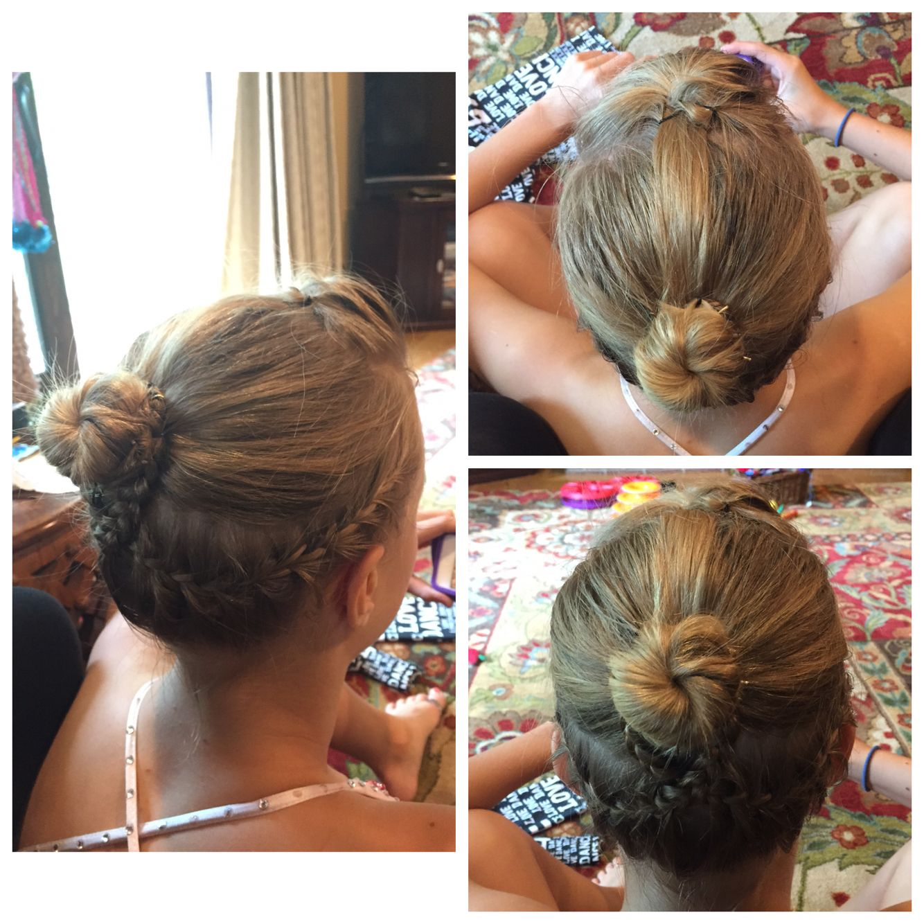 pouf and two low french braids into a bun | dance hairstyles