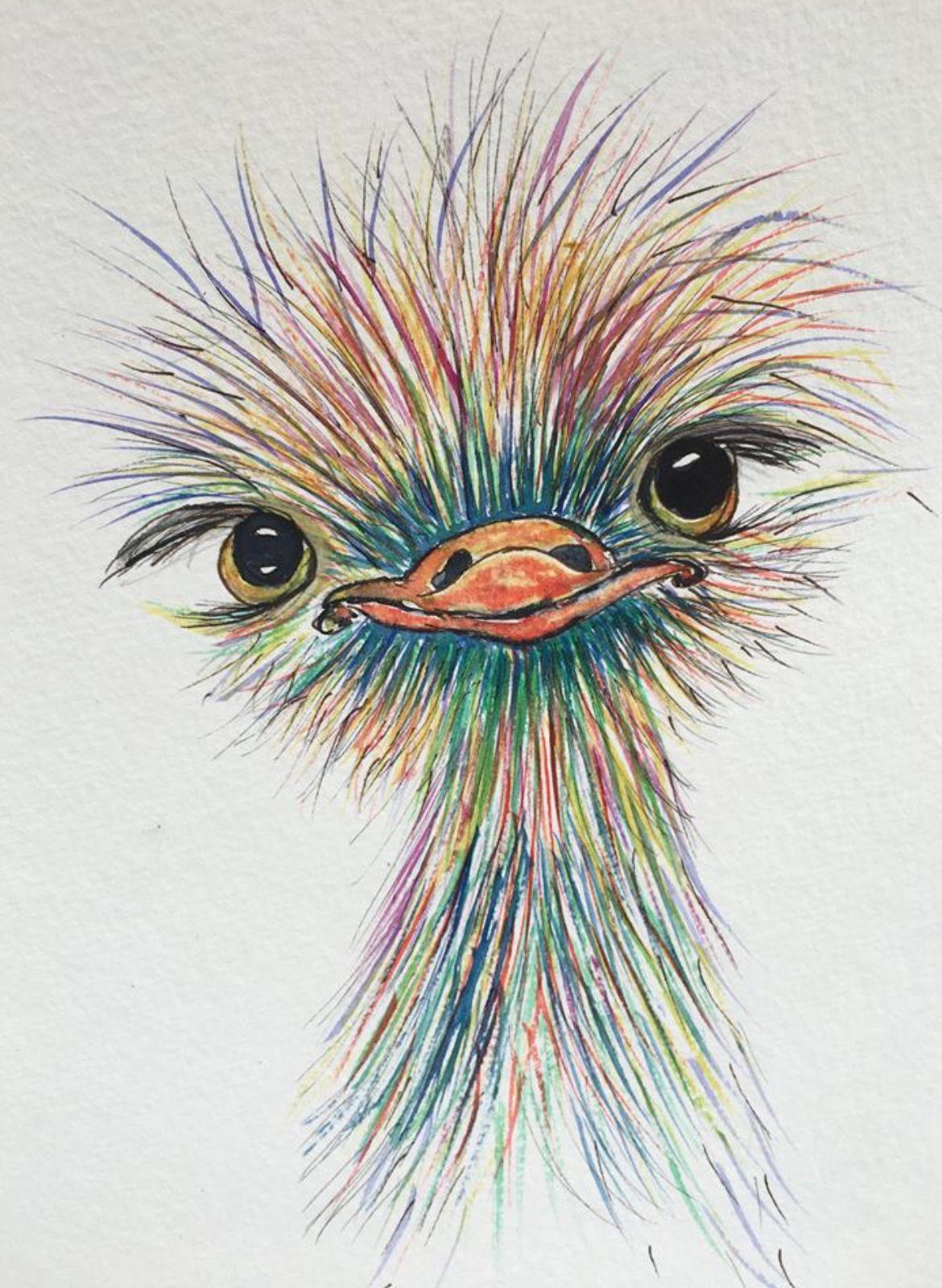 Ostrich librarian w/ glasses