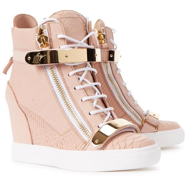 Womens Wedge Trainers Giuseppe Zanotti Lorenz Donna Rose Wedge Hi-top...  (3.465 BRL) ❤ liked on Polyvore featuring shoes, sneakers, high top velcro…