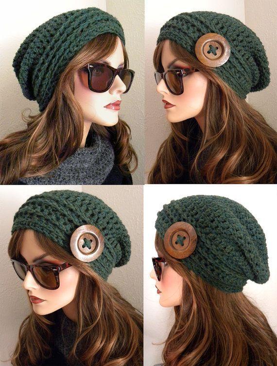 Tweed de lana marrón Boho Chic gorro Slouchy por FreeSpiritHats ...