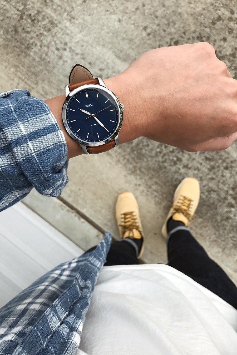 8d33e70288b Mastering fall casual cool with the blue dial Minimalist watch and a plaid  flannel. via  derrickder