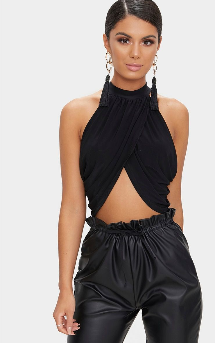 a8ac6bf78d71 Black Neck Wrap Crop TopChannel major sophistication and class in this  stunning wrap top. Featuri.