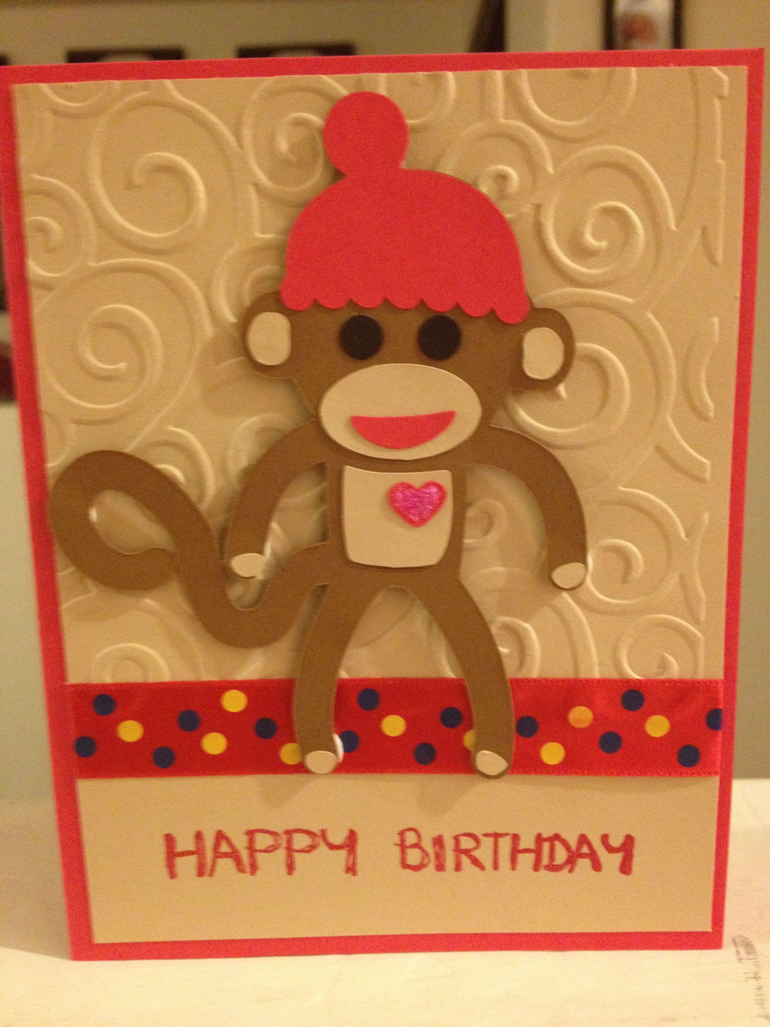 Sock Monkey Birthday Card Cricut Lite B Is For Boy Handmade Birthday Cards Birthday Cards Boy Cards