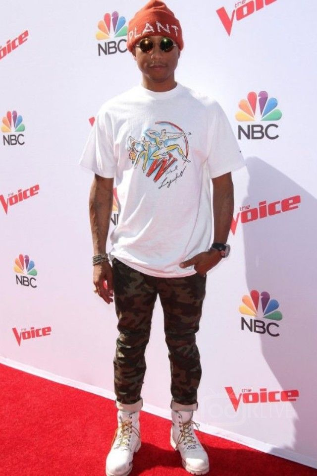 timeless design 69f44 06caa Pharrell Williams wearing Cactus Plant Flea Market Plant Embroidered  Beanie, Timberland Custom Doodled Boots, G-Star Raw Camo Elwood Jeans,  Richard Mille RM ...
