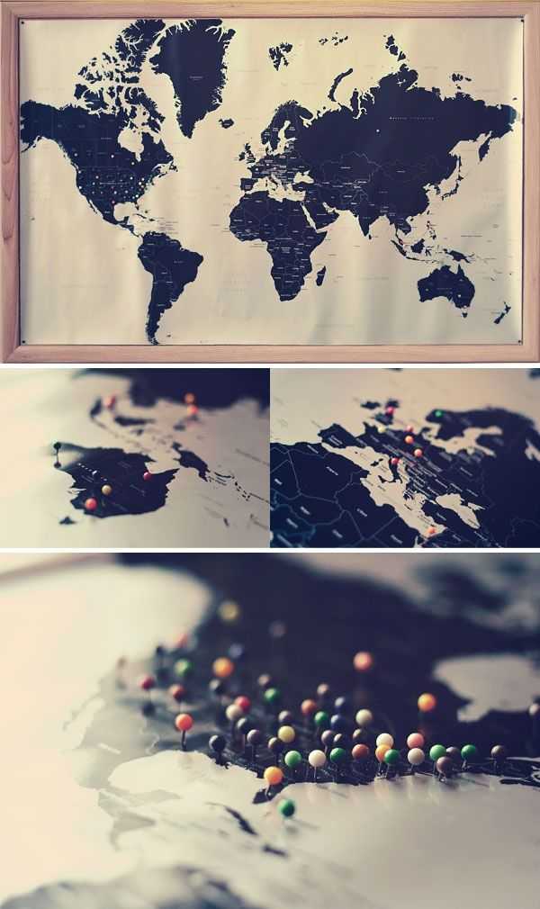 Black Map With Colored Pins.pinned Onto A Cork Board. I Would Use Tissue  Paper Or Colored Tape Or Even Parts Of Postcards/maps From Each Place And  Cover ...