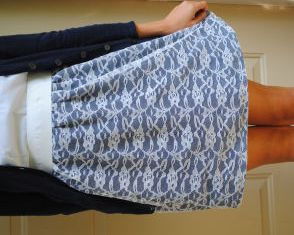 The high waisted lace over-lay skirt is very easy to sew with just ...