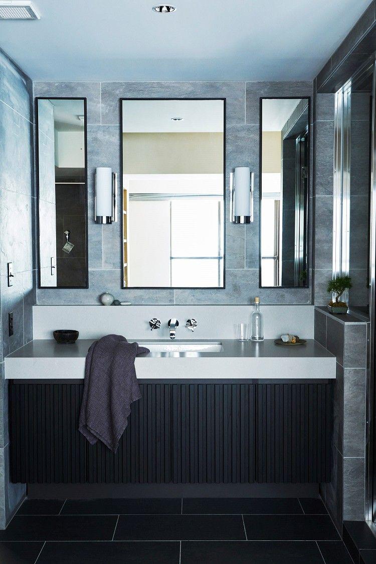 寝室から続く洗面室はランドリールームも兼ねておりホテルライクなスタイリッシュな空間になっています 専門家 マイリノが手掛けた 上質なタイル張りで高級感のあるスタイリッシュな洗面室 Re Apartment United Arrows Ltd Master Plan B 住む人 洗面