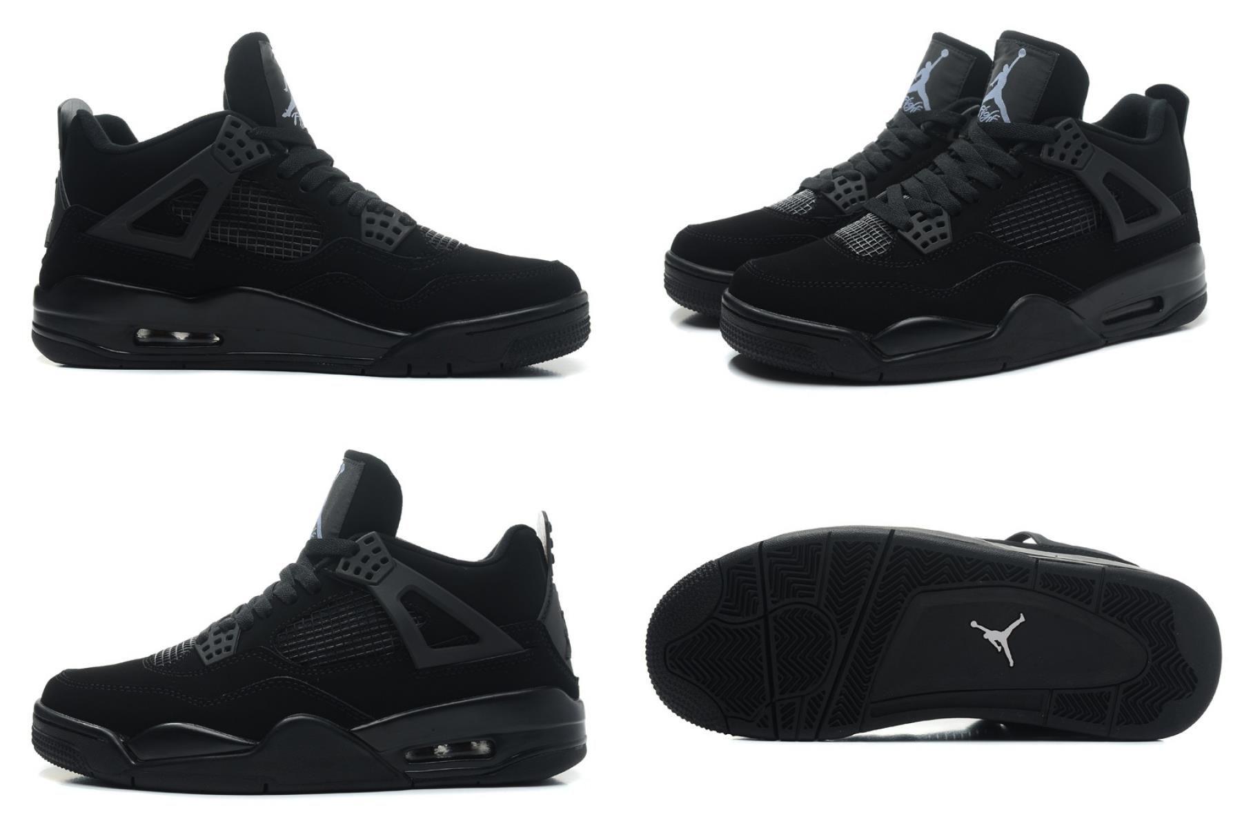"2020 的 Air Jordan 4 ""black Cat"" Black/blacklight Graphite 主题"