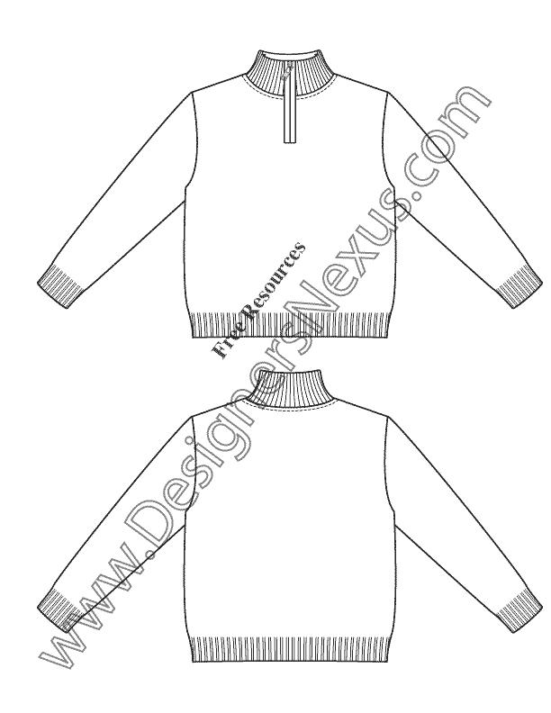 V32 Childrens Mock Neck Sweater Illustrator Flat Fashion Sketch Free Adobe Illustrator High Quality Png Downl Jumper Designs Fashion Sketches Fashion Flats