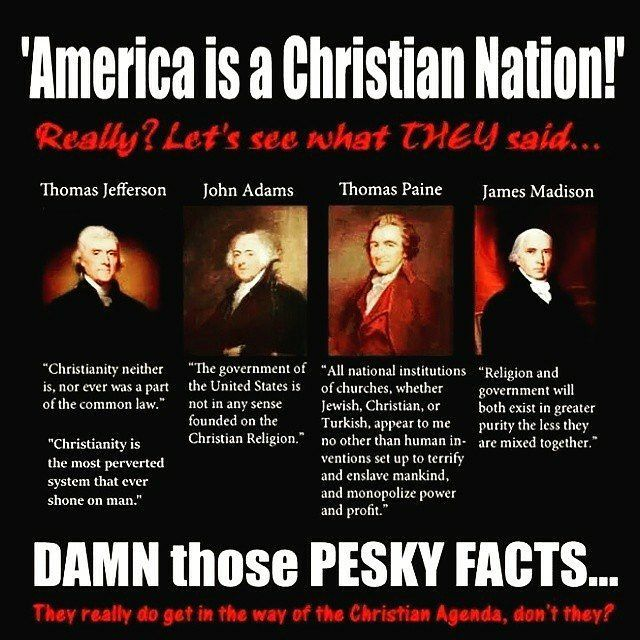 Post from @shredding_atheus -  United States Of America is not a Christian nation. Dont make it that way either. It will make America worse than it is already. :) Oh and by the way Thomas Jefferson was not a Christian. He rejected it. He was a diest. John Adams did aswell. He was a unitarian. So did Thomas Paine. He was a diest. And so did James Madison. He was an Episcopalian. Dont comment bullshit here please nor take things out of context.    #America #Christianity #foundingfathers…