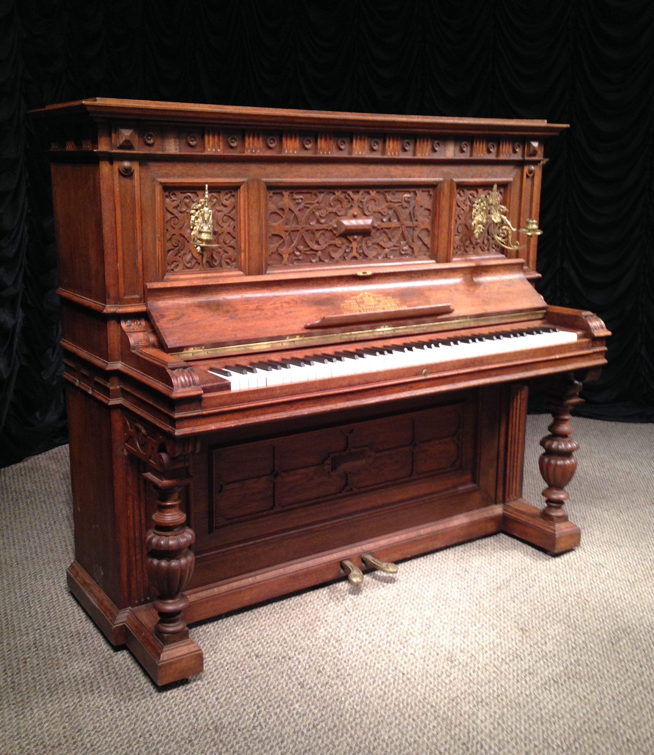 F Schilling Victorian Carved Upright Piano The Antique