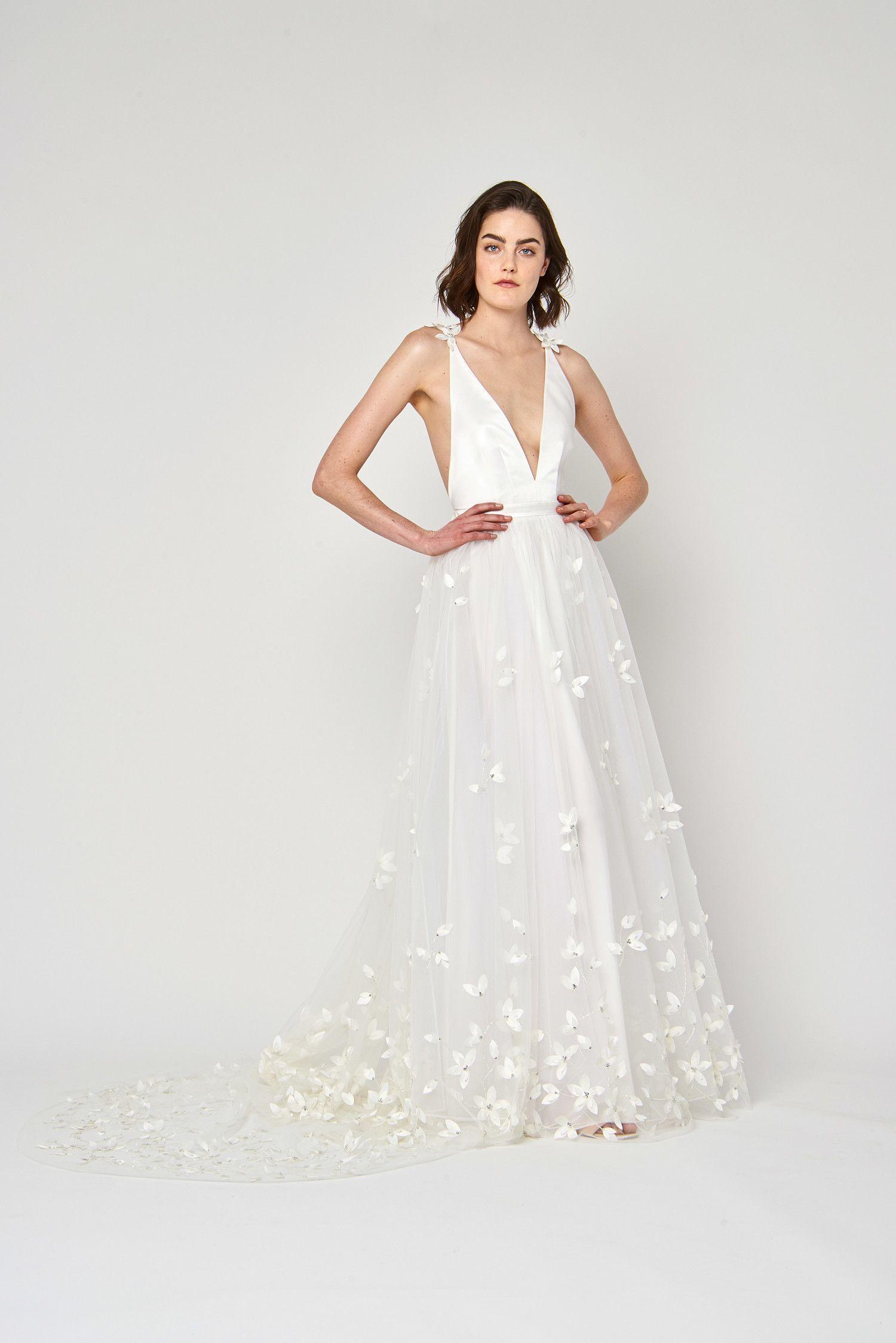 Lace v neck maxi dress april 2019 Alexandra Grecco Spring  Wedding Dress Collection  Wedding