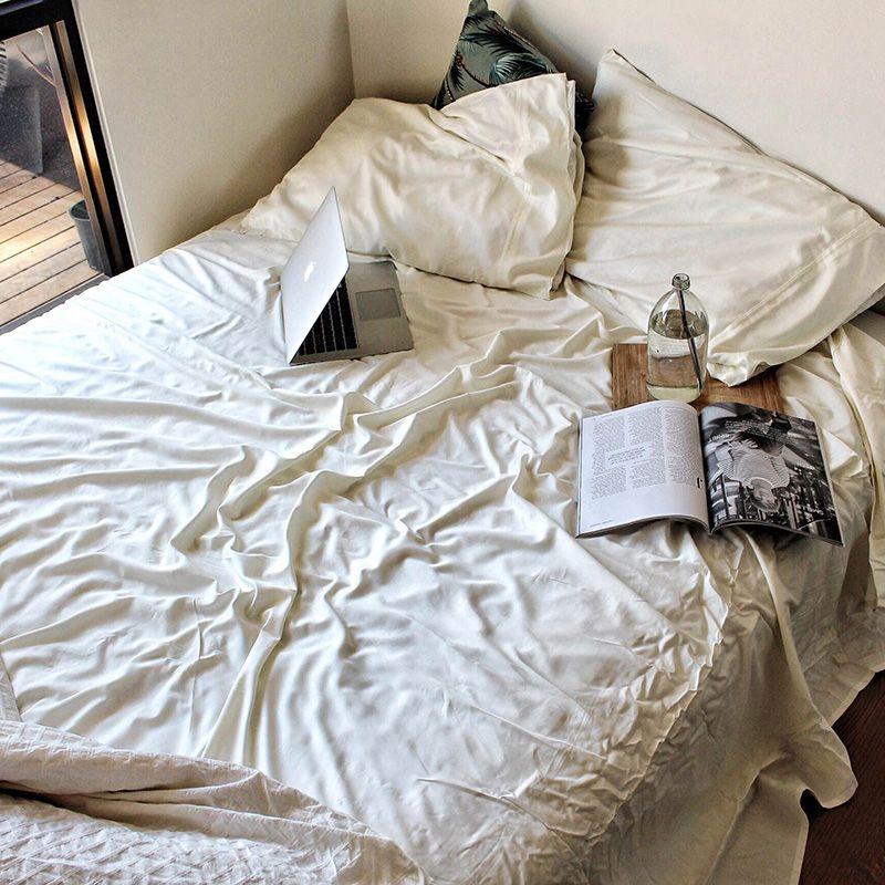 Natural 100 Bamboo Bed Sheet Set By Bambusa In Ivory White Yo