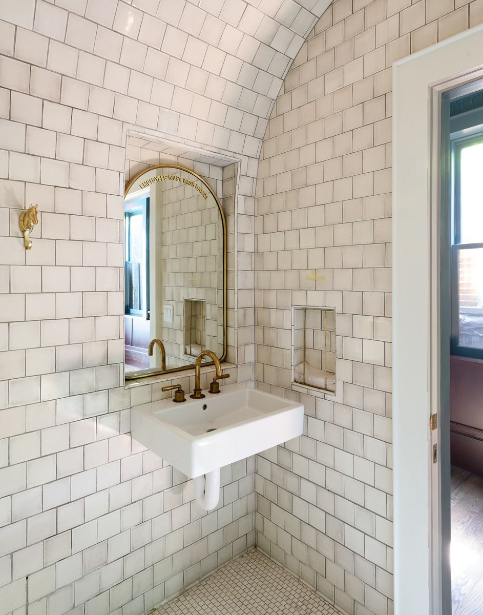 Tile Bathroom All Tile Walls And Ceiling Tile Ceiling Curved Ceiling Arched Mirro Ceiling Tiles Bathroom White Tile Bathroom Walls White Bathroom Tiles
