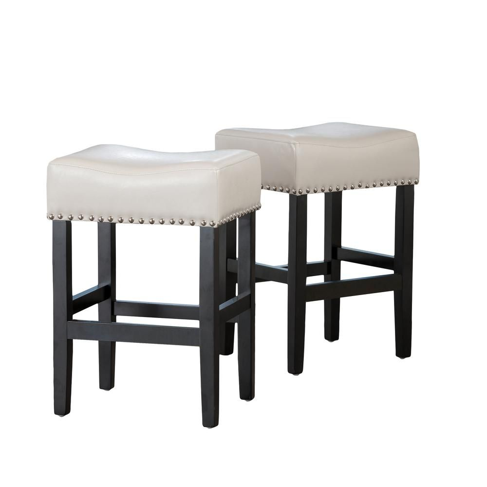 Noble House Lisette 26 In Ivory Backless Counter Stool Set Of 2