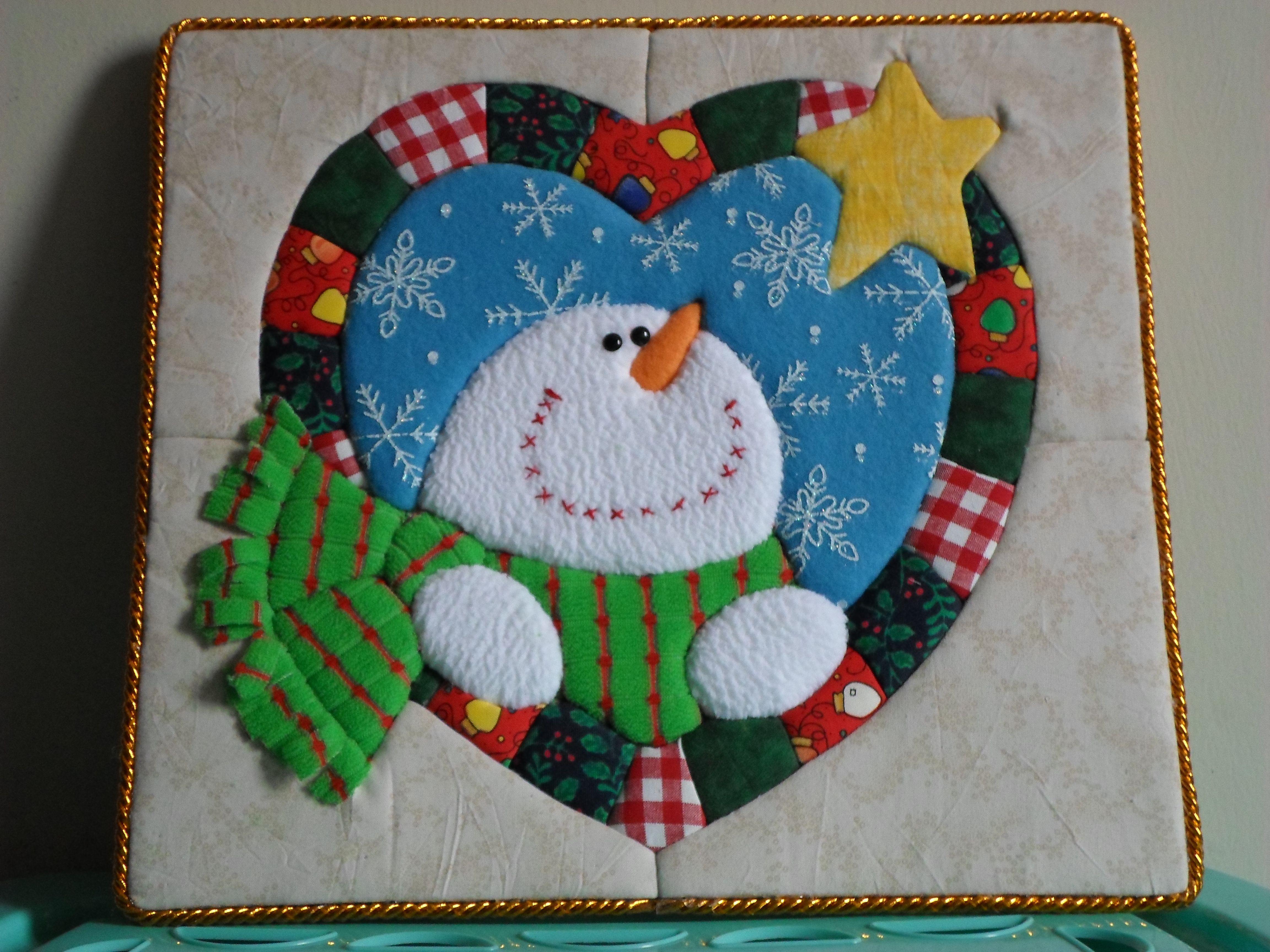 Cuadro navide o tecnica patchwork sin aguja fieltro for Cuadros de navidad