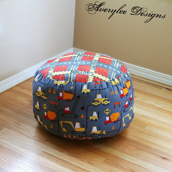 boys dump truck print and construction round pouf ottoman footstool robert kaufman cone on. Black Bedroom Furniture Sets. Home Design Ideas