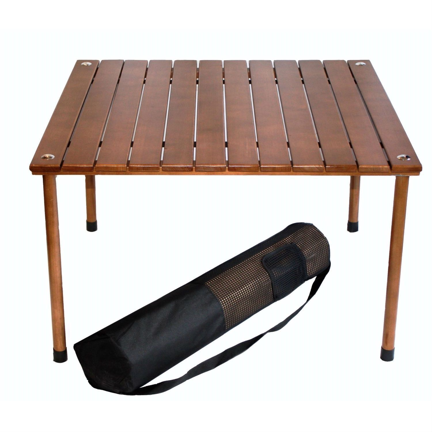 Superior Outdoor Portable Folding Table With Carry Bag With Solid Wood Top
