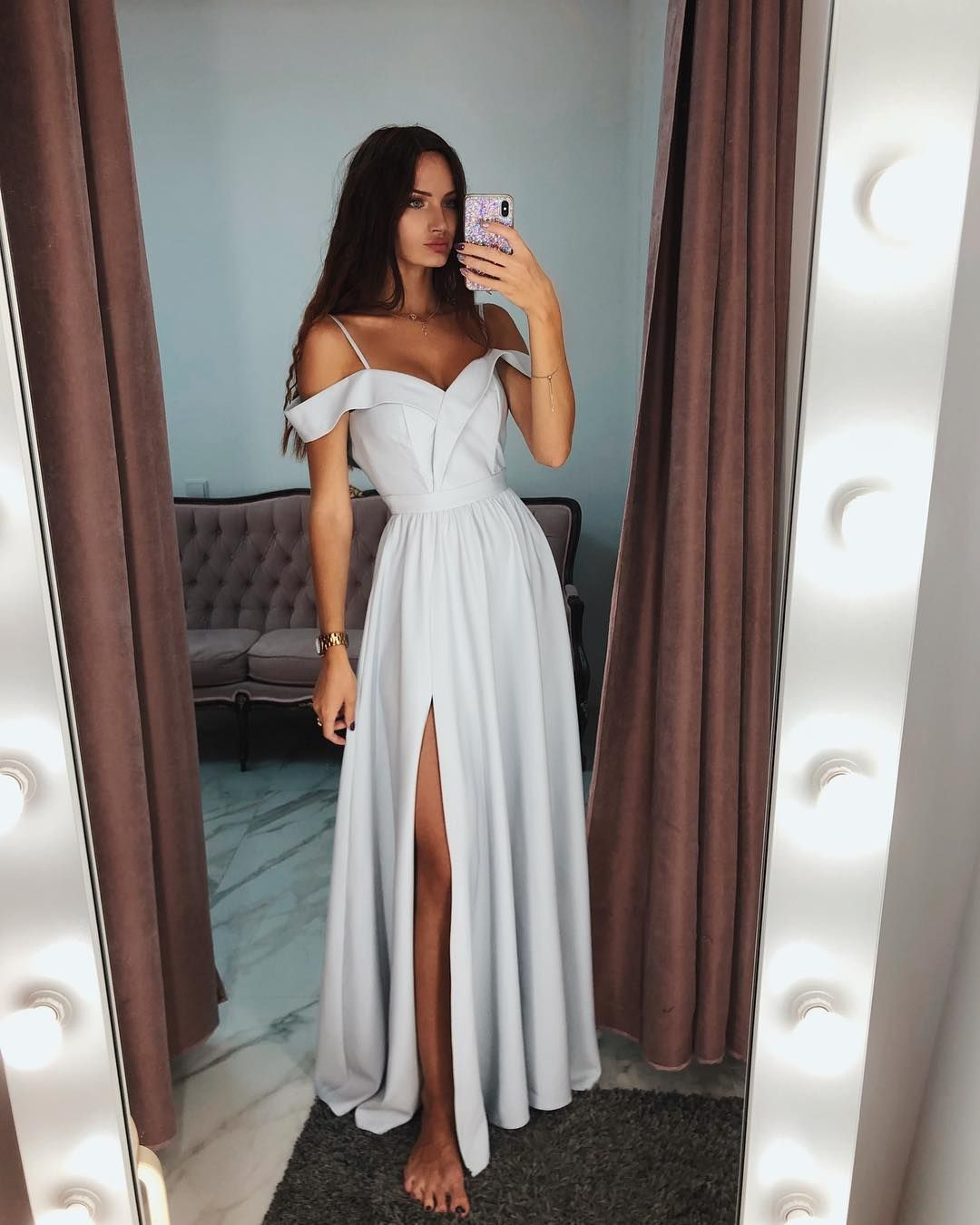 5a393acc5b160 Elegant Off The Shoulder Gray Evening Dress,2019 Long Prom Dress in ...