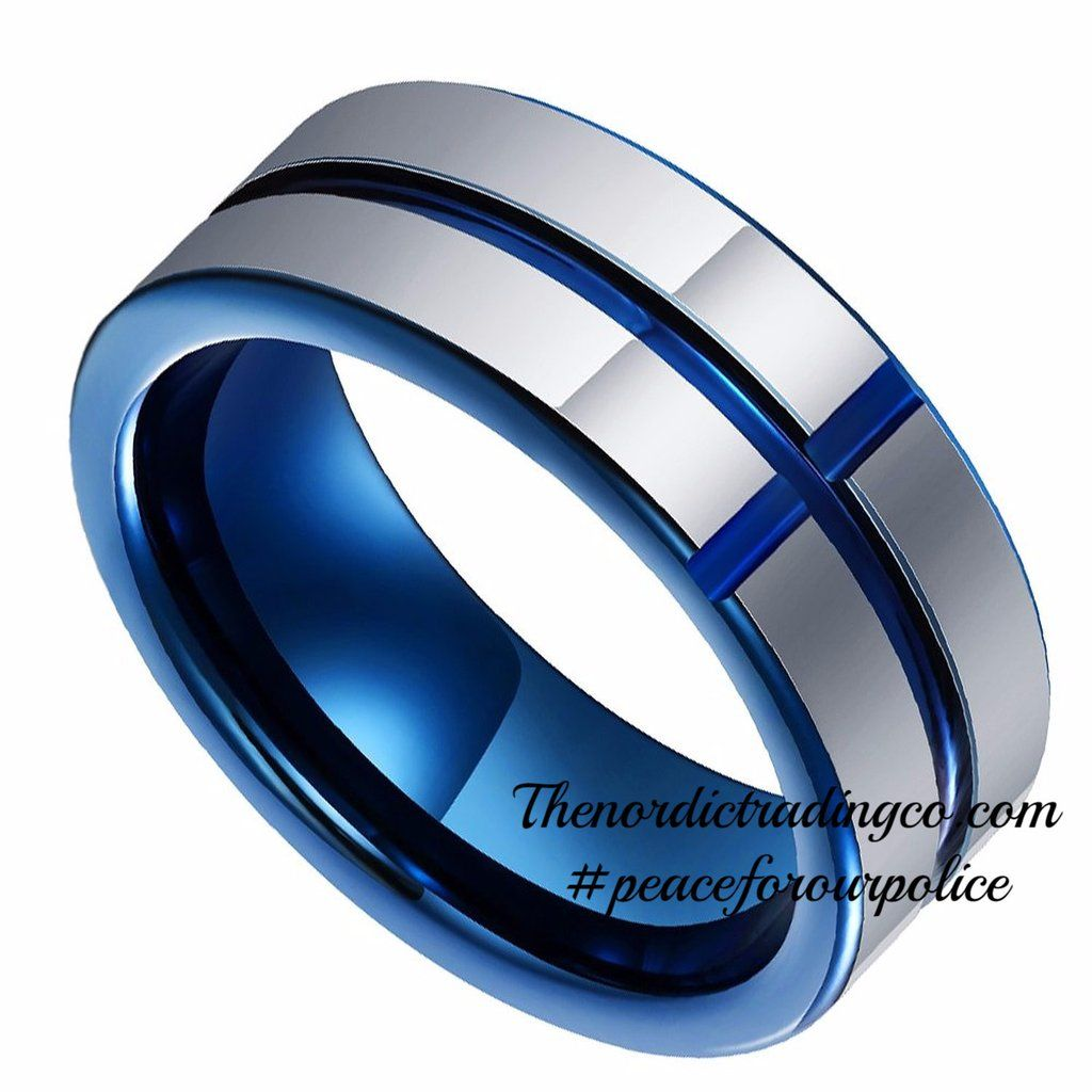 Tungsten Carbide Band Thin Blue Line Cross Inlay Police Officer Wedding Ring  8mm #bluelivesmatter Support