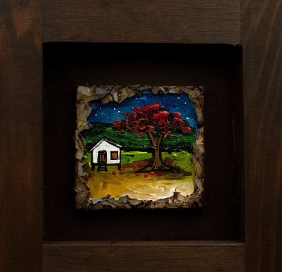Puerto Rican Landscape at night with flamboyant framed miniature ...