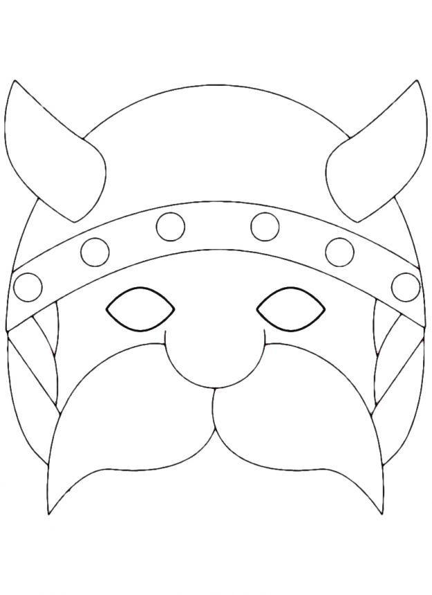 Maschera vichingo da colorare festa draghi pinterest for Maschera di flash da colorare