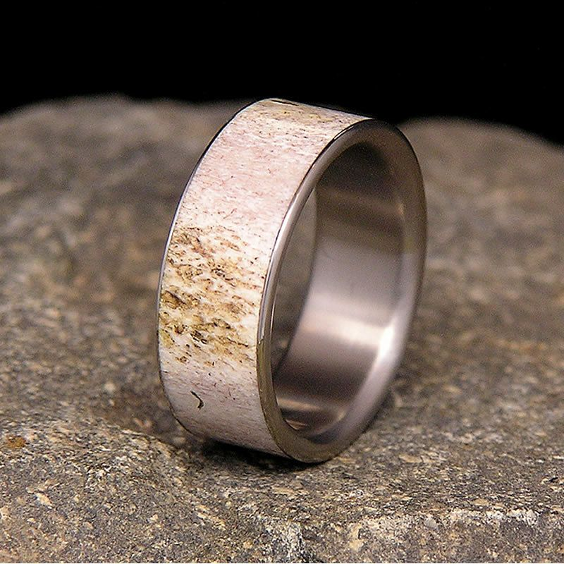 Deer Antler Titanium Wedding Band or Ring Deer antlers Antlers