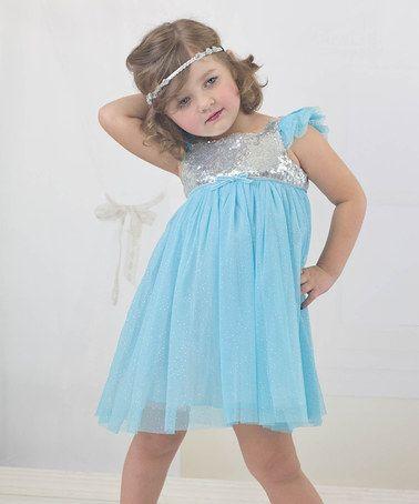 Loving this Blue & Silver Sequin Empire-Waist Dress - Infant, Toddler & Girls on #zulily! #zulilyfinds