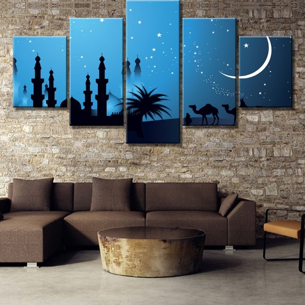 5 Piece Blue Seascape Skyline Canvas Wall Art Print Decor for Living Room Home