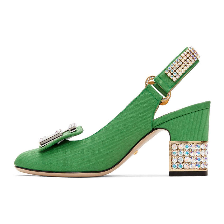 45af66cd6235 Gucci - Green Moire Madelyn Slingback Heels Heeled Loafers