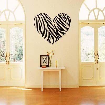 Zebra Print Stripe Heart | Zebra print, Wall sticker and Walls