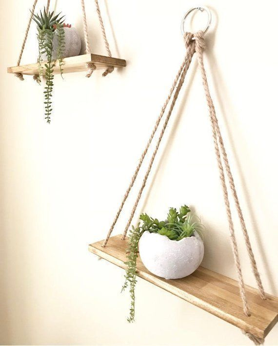 Photo of Hanging shelves, Planter, Handmade, Wall Decor, Rustic Shelves, Wall Planter, Shelves, Bathroom Shelves, Wall Shelves, Home Decor, Gift – Tapeten ideen