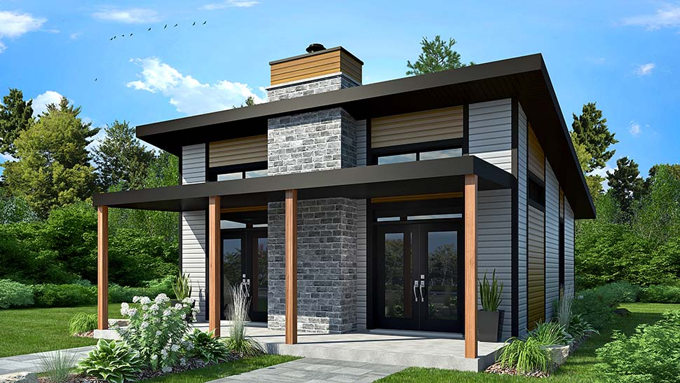 Modern Style House Plan 76474 With 2 Bed 1 Bath Modern Style House Plans Cottage Style House Plans Carriage House Plans