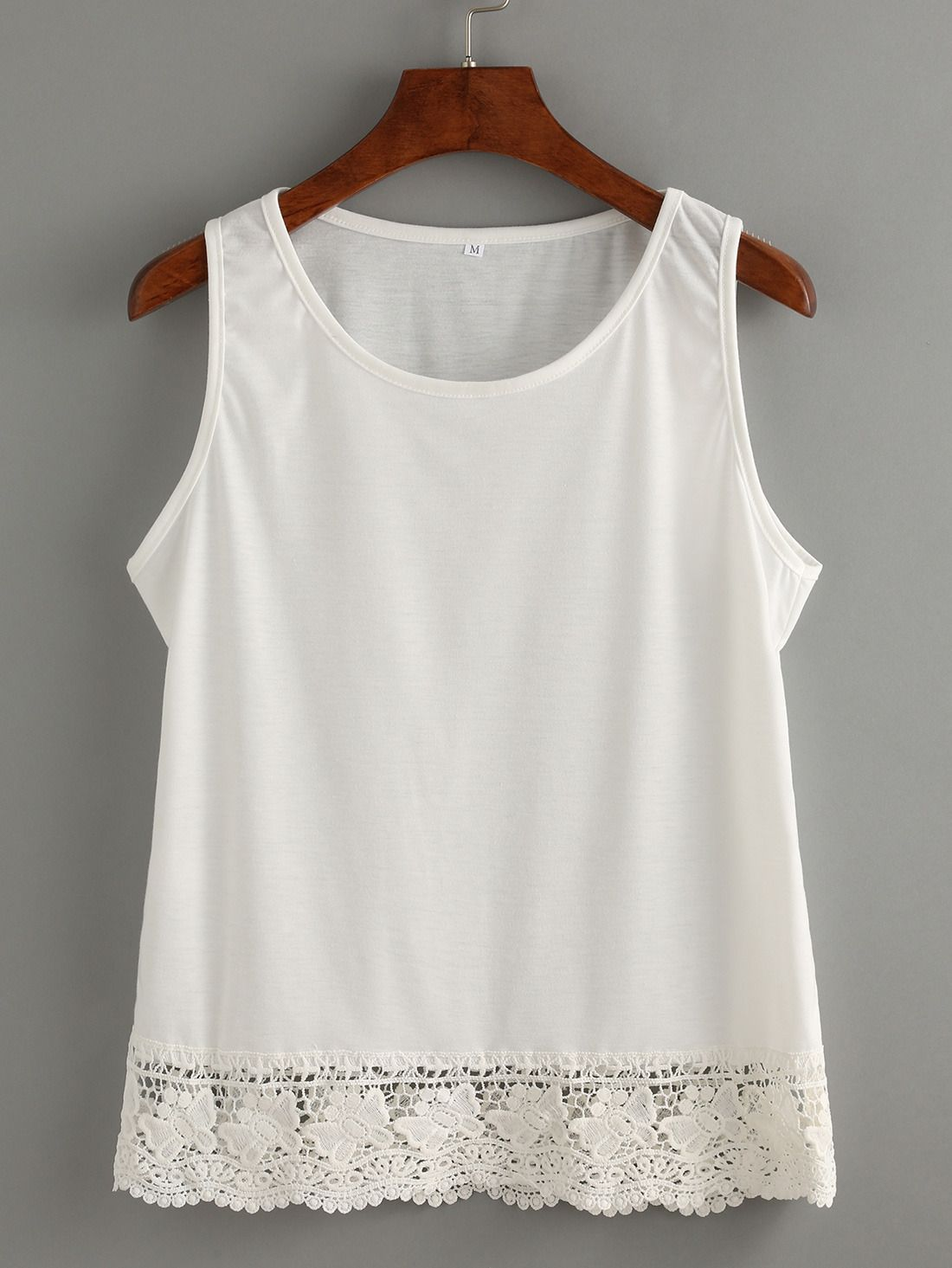 White apron lace trim - Shop White Lace Trim Tank Top Online Shein Offers White Lace Trim Tank Top