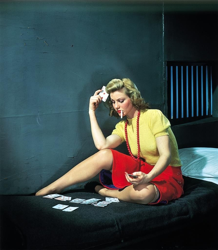 6540 Best Images About 1 Kodachrome Vintage Color On: Woman In Jail Playing Solitaire.