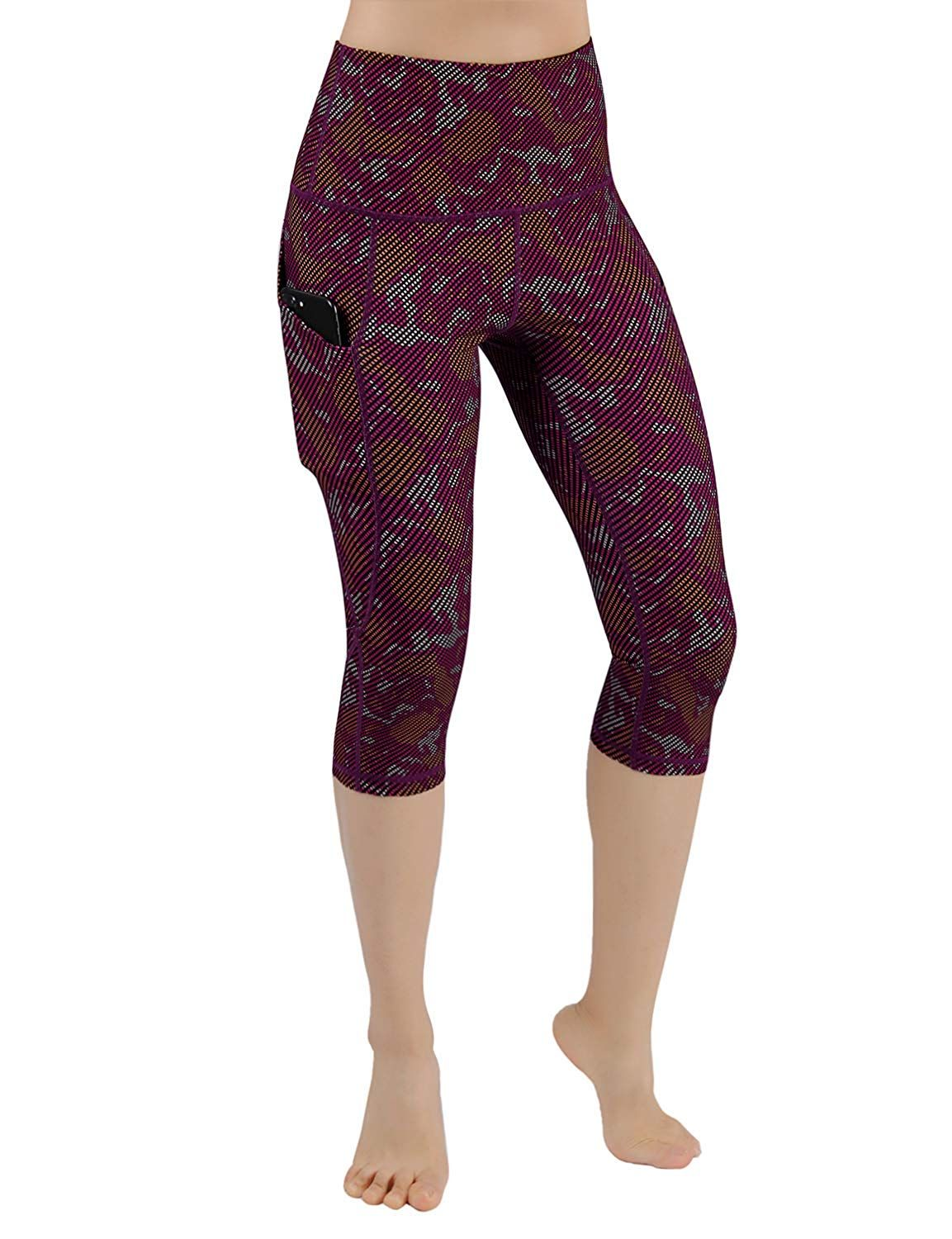 19cfb509cfaee ODODOS High Waist Out Pocket Printed Yoga Capris Pants Tummy Control Workout  Running 4 Way Stretch Yoga Leggings,Camouflage,X-Small