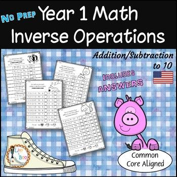 Year 1 Math Inverse Operations Add Subtract To 10 No Prep Worksheets Inverse Operations Year 1 Maths Math Adding and subtraction inverse worksheet