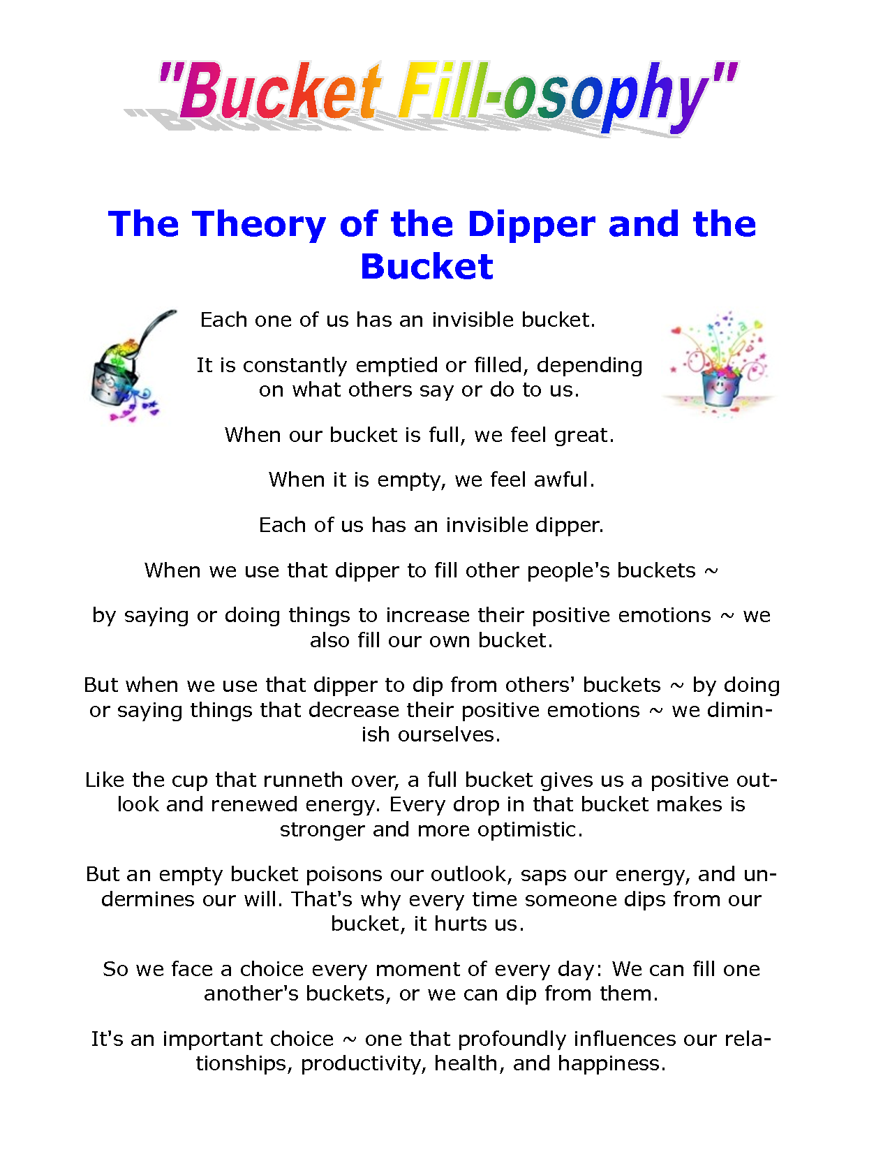 bucket filler letter to parents Google Search Bucket filling
