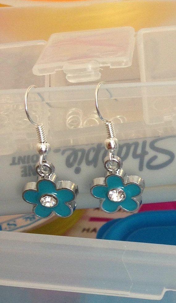 Flower jewellery Blue flower earrings stoned by BrowniesCRAFTBOX