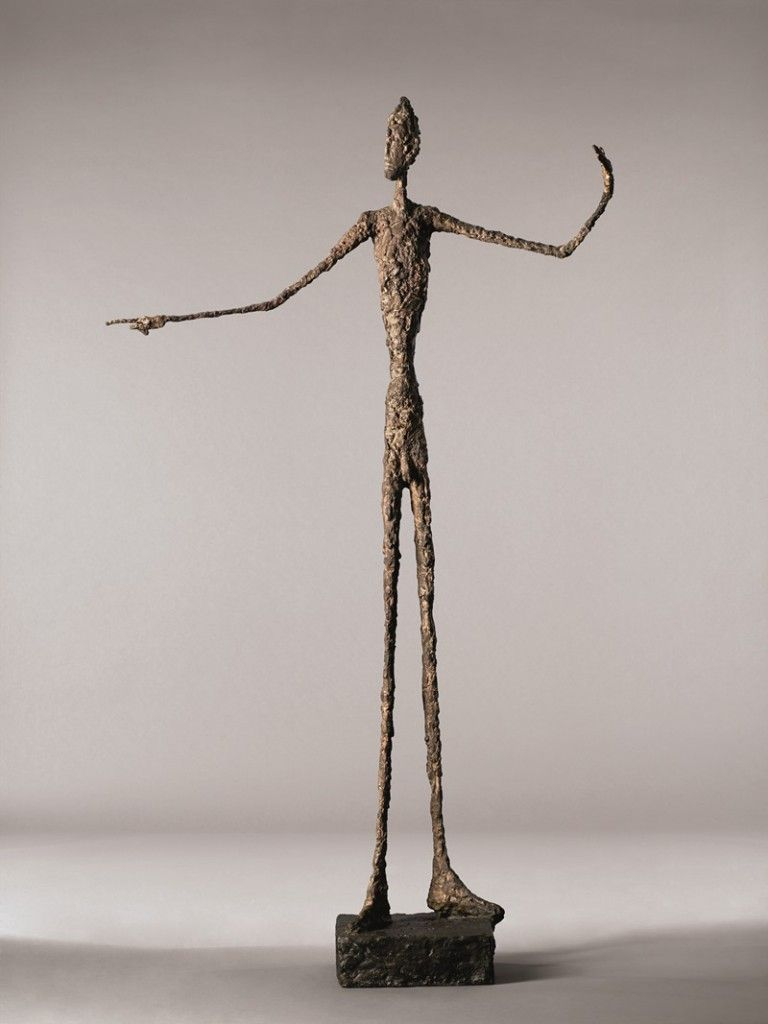 Alberto Giacometti, Pointing Man (1947), bronze with patina, hand-painted. Courtesy Christie's.
