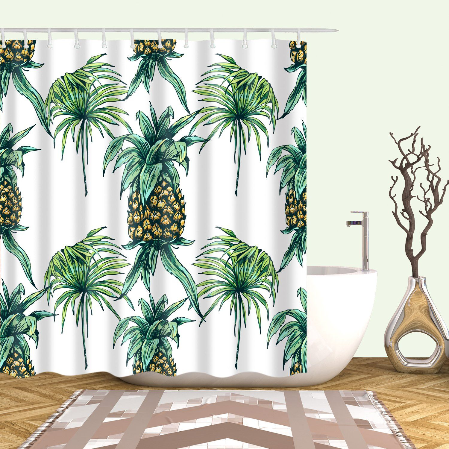 Tropical Fruit Drawing Pineapple Shower Curtain Bathroom Decor In