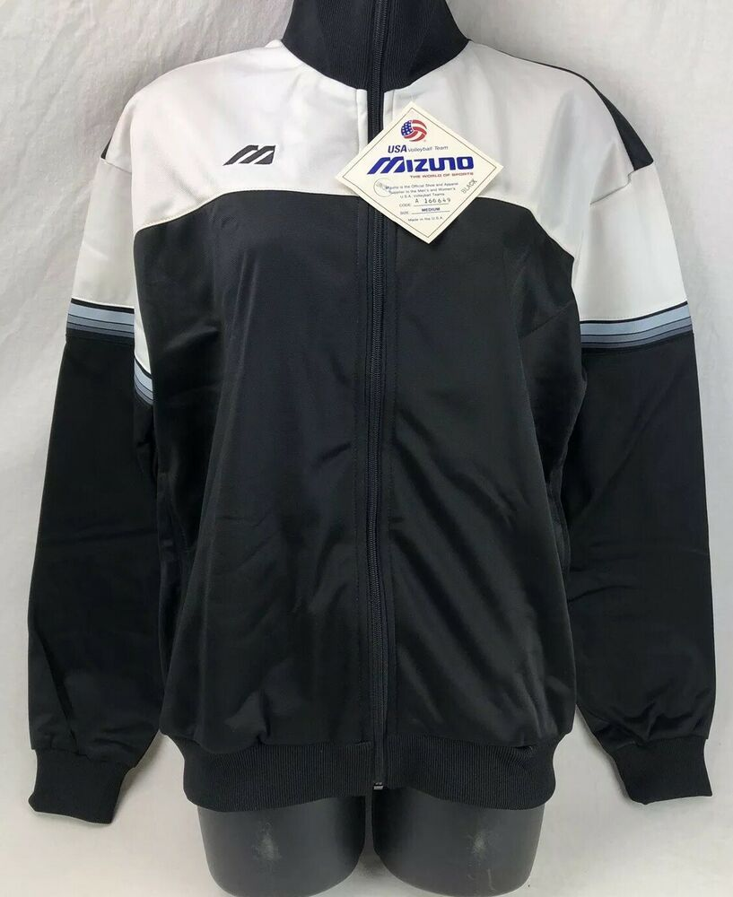 Details About Vintage Mizuno Jacket Usa Volleyball Team Full Zip Medium Nwt Black Polyester In 2020 Usa Volleyball Team Usa Volleyball Volleyball Team