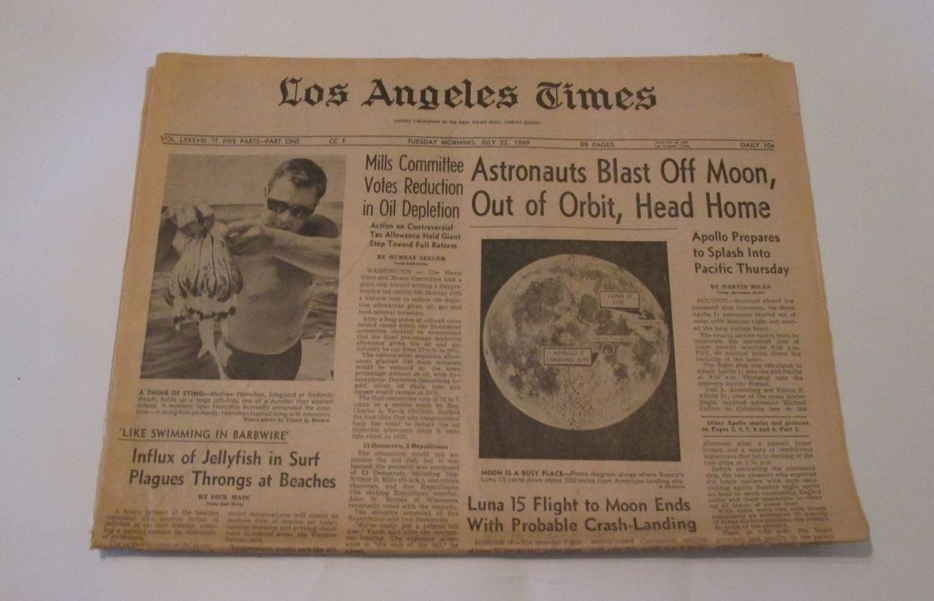 los angeles times front cover moon landing Saferbrowser