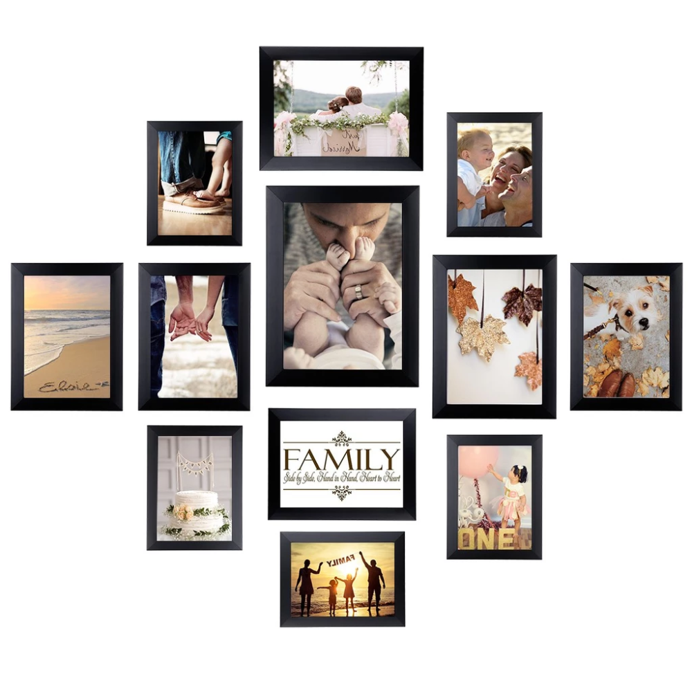 Homemaxs 12 Pack Picture Frames Collage Photo Frames Wall Gallery Kit For Wall And Home One 8x10 In Four 5x7 In Five 4x6 In Two 6x8 In Black Framed Photo Collage