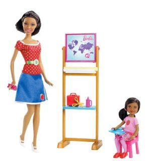 Barbie I Can Be Teacher African-American Doll Playset by Mattel. $25.00. Help Barbie write lessons on the blackboard. Girls can play out the role of teacher. Code inside unlocks career-themed content online. Includes Barbie, Chelsea, blackboard, eraser, student desk, scissors, lunchbox and bottle of glue. Barbie is ready to teach Chelsea something new. From the Manufacturer                Barbie I Can Be Teacher Playset: With this playset, girls can explore the role of a t...