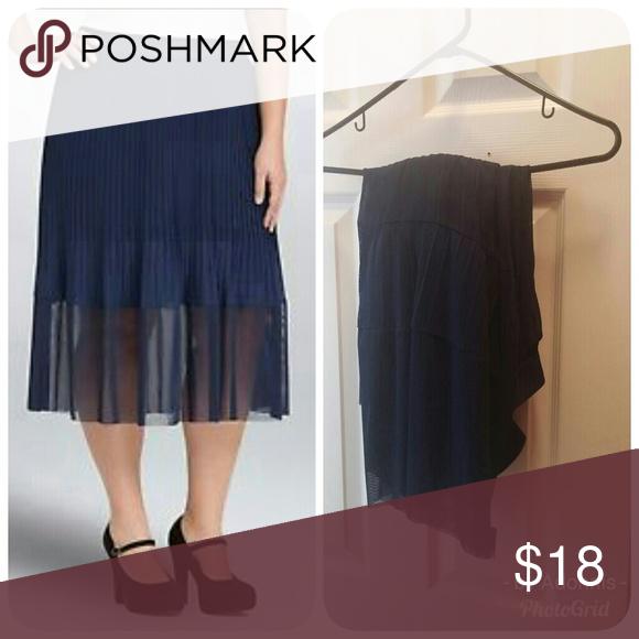 6a8ee9d2fe Torrid pleated navy skirt-3 Cute navy Torrid pleated skirt with sheer  bottom panel, BNWT, SIZE 3 torrid Skirts