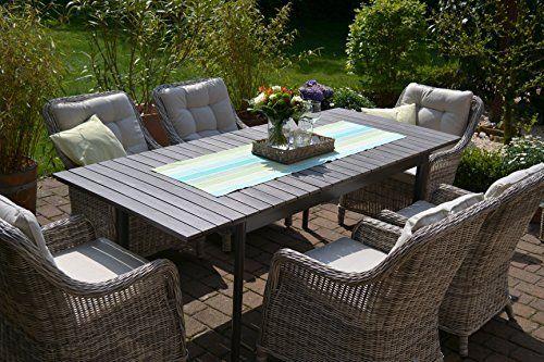 Amazon De Gartenmobel Set Como 6 Tisch Ausziehbar Holzdekor Mit 6 Sessel Rattan Polyrattan Geflecht Gartenmobel Grauer Tisch Mobel